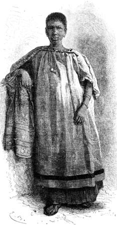 louis: Girl from St. Louis, vintage engraved illustration. Le Tour du Monde, Travel Journal, (1872). Stock Photo