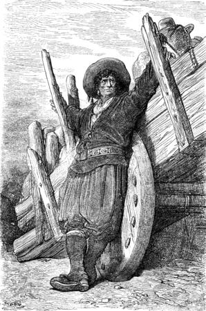 merchant: Merchant maragato chestnuts, vintage engraved illustration. Le Tour du Monde, Travel Journal, (1872). Stock Photo