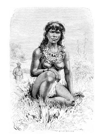 dr: The Beautiful Popoula, a Young Native Woman in Oiapoque, Brazil, drawing by Riou from a sketch by Dr. Crevaux, vintage engraved illustration. Le Tour du Monde, Travel Journal, 1880
