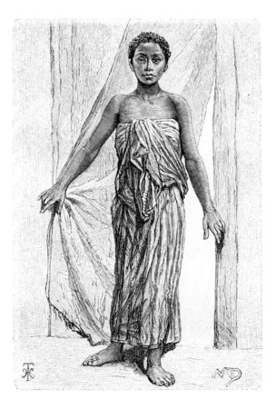 colonial: xxxxx, in Angola, Southern Africa, drawing by The Little Mariana, drawing by Maillart based on the English edition, vintage illustration. Le Tour du Monde, Travel Journal, 1881