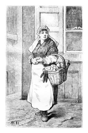 Les marchands d'oeufs à Bruxelles, en Belgique, dessin par Hubert, illustration vintage. Le Tour du Monde, Voyage Journal, 1881