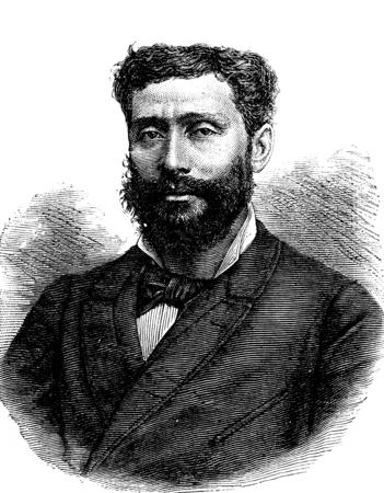 famous writer: Portrait of Louis Boussenard, vintage engraved illustration. Journal des Voyages, Travel Journal, (1880-81).