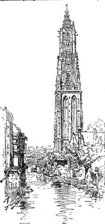 De toren van de Onze Lieve Vrouw in Amersfoort, vintage gegraveerde illustratie. Journal des Voyage, Travel Journal, (1880-1881).