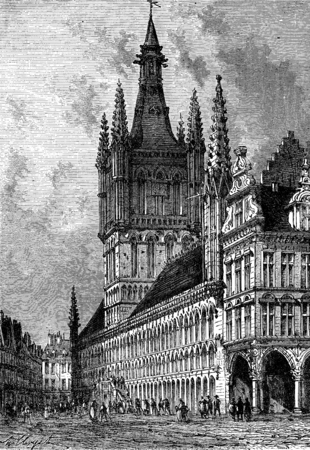 town hall: The Town Hall of Ypres, vintage engraved illustration. Journal des Voyage, Travel Journal, (1880-81).