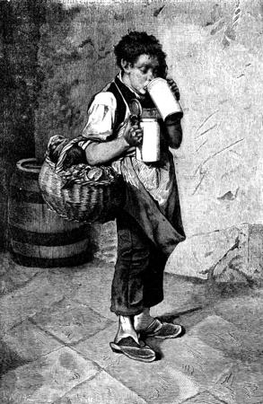 black beer: Munich breweries. Funny drinking steins leads to his master, vintage engraved illustration. Journal des Voyage, Travel Journal, (1880-81).