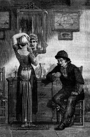 dutch girl: A Dutch interior. It relates to his sister a pair of earrings, vintage engraved illustration. Journal des Voyage, Travel Journal, (1880-81). Stock Photo