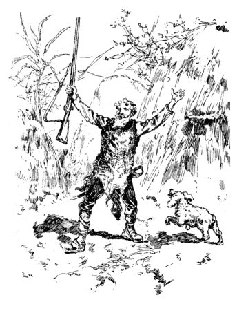 perilous: Narcissus nicaise perilous adventures in the Congo. Nicaise out of the hut chanting victory, vintage engraved illustration. Journal des Voyages, Travel Journal, (1880-81).