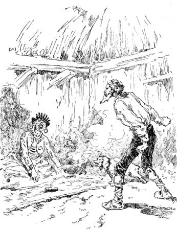 irritating: Narcissus Nicaise perilous adventures in the Congo. One screams and rushed another irritating, vintage engraved illustration. Journal des Voyage, Travel Journal, (1880-81).