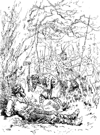 perilous: Narcissus Nicaise perilous adventures in the Congo. Nicaise beckoned with his head that he was ready to act, vintage engraved illustration. Journal des Voyage, Travel Journal, (1880-81).