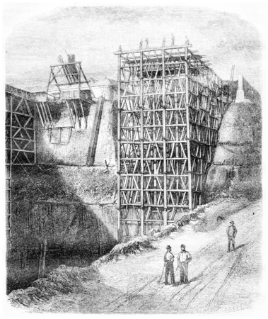 quarries: Slate quarries of Angers. Craft under construction, vintage engraved illustration. Magasin Pittoresque 1867.