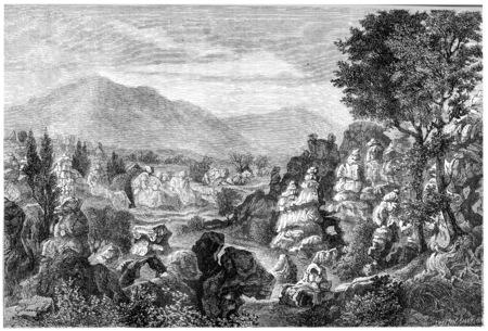 river rock: Ardeche river limestone rock formations, Ardeche region, France, vintage engraved illustration. Magasin Pittoresque  1874.