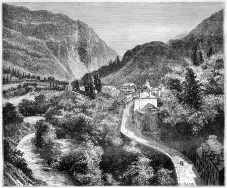 hamlet: Luz St Sauveur, Midi-Pyrenees, France, vintage engraved illustration. Magasin Pittoresque  1874.