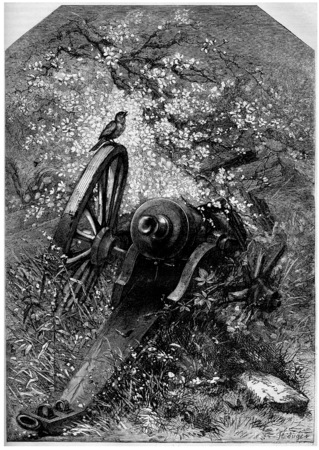 destroyed: An old destroyed cannon with nature growing over it, vintage engraved illustration. Magasin Pittoresque  1875.