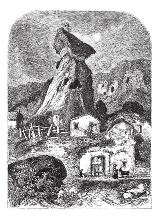 magasin pittoresque: The ruins of the Tower of Maurifolet, France, vintage engraved illustration. Magasin Pittoresque  1875.