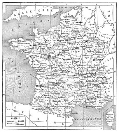 프랑스, 빈티지 새겨진 된 그림의 종교지도입니다. 단어와 사물의 사전 - Larive and Fleury - 1895.