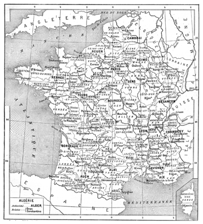 Religious map of France, vintage engraved illustration. Dictionary of words and things - Larive and Fleury - 1895.