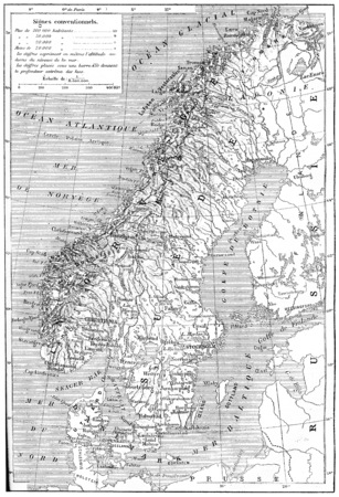 scandinavia: Old engraved illustration of map of Scandinavia - Sweden, Norway and Denmark. Dictionary of words and things - Larive and Fleury ? 1895