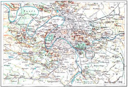 Carte topographique de Paris, France, illustration vintage gravé. Dictionnaire des mots et des choses - Larive et Fleury - 1895 Banque d'images - 38206538
