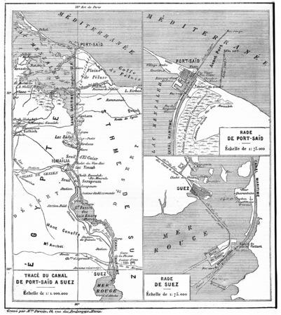 スエズ運河、ビンテージの刻まれた図の地図。言葉・事・辞典 Larive ・ フルーリ - 1895年。 写真素材