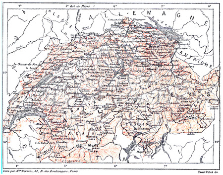 Map of Switzerland,  vintage engraved illustration. Dictionary of words and things - Larive and Fleury - 1895. Imagens