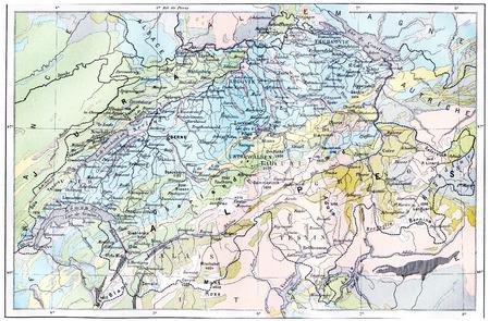 アルプスの地形図は、ヴィンテージには、図が刻まれています。辞書単語や Larive のことやフルーリ - 1895