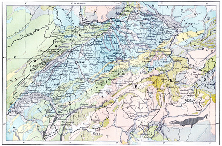 Topographical Map of the Alps, vintage engraved illustration. Dictionary of Words and Things - Larive and Fleury - 1895