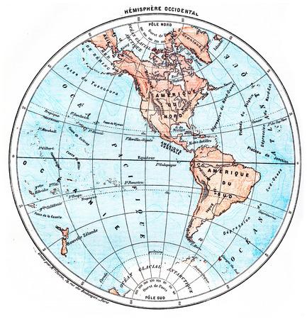 longitude: Earth, Western Hemisphere, vintage engraved illustration. Dictionary of words and things - Larive and Fleury - 1895.