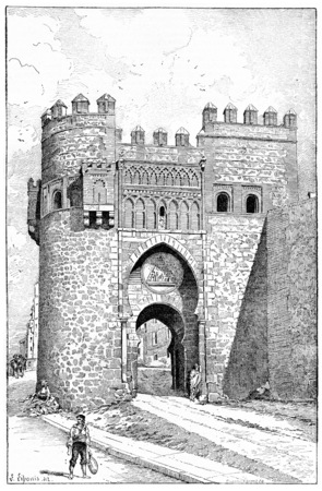 del: Puerta del Sol, a city gate of Toledo, Spain, vintage engraved illustration. Dictionary of words and things - Larive and Fleury - 1895. Stock Photo