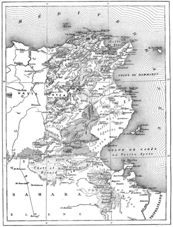 Map of Tunisia, vintage engraved illustration. Dictionary of Words and Things - Larive and Fleury - 1895