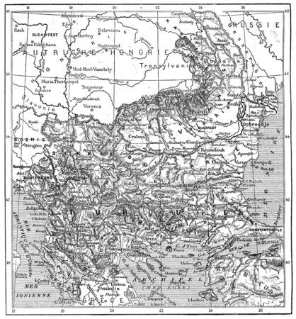 Kaart van Turkije, Bulgarije, Servië, Roemenië en Montenegro, vintage gegraveerde illustratie. Woordenboek van woorden en dingen - Larive en Fleury - 1895 Stockfoto