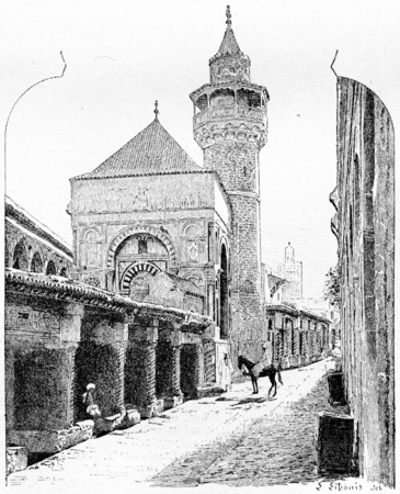 cultural history: City of Tunis in Tunisia, showing the Al-Zaytuna Mosque, vintage engraved illustration. Dictionary of Words and Things - Larive and Fleury - 1895