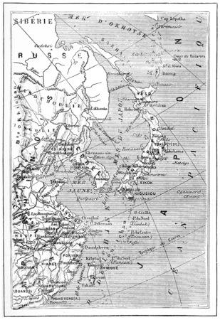 Carte du Japon, la Corée, la Chine, illustration vintage gravé. Dictionnaire des mots et des choses - Larive et Fleury - 1895. Banque d'images - 38206590