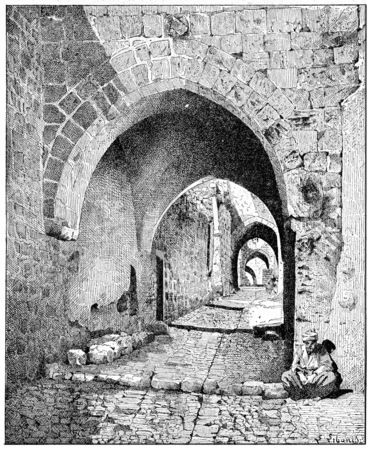 jerusalem: Street View of the city, Jerusalem, vintage engraved illustration. Dictionary of words and things - Larive and Fleury - 1895.
