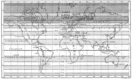 longest: Map of the longest days of summer for different latitudes,  vintage engraved illustration. Dictionary of words and things - Larive and Fleury - 1895.