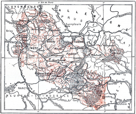 Topographical Map of Lorraine, France, vintage engraved illustration. Dictionary of Words and Things - Larive and Fleury - 1895