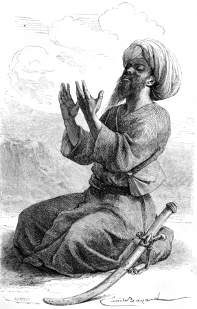Hadji Bilal, pelgrim Tandsteen metgezel Vambery, vintage gegraveerde illustratie. Le Tour du Monde, Travel Journal, (1865).