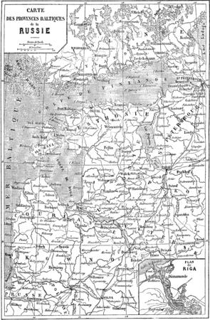 Map of Baltic Province to Russia, vintage engraved illustration. Le Tour du Monde, Travel Journal, (1865).