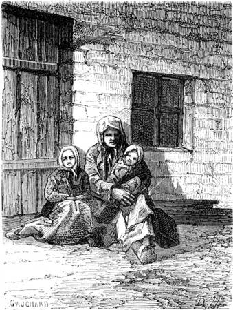 child sitting: Dobeln peasant on his door, vintage engraved illustration. Le Tour du Monde, Travel Journal, (1865).