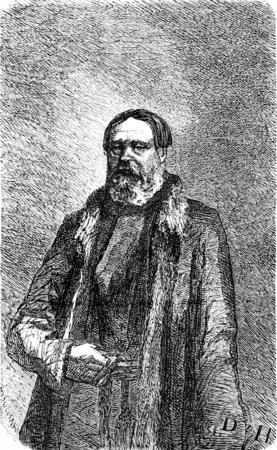 retailers: Russian merchant is the second Guild in Riga, vintage engraved illustration. Le Tour du Monde, Travel Journal, (1865).