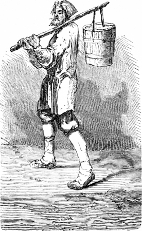 refrigerated: Ice cream vendor in Riga, vintage engraved illustration. Le Tour du Monde, Travel Journal, (1865).