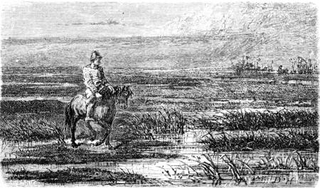 voyage russe (Livonia), illustration vintage gravé. Le Tour du Monde, Journal Voyage, (1865).