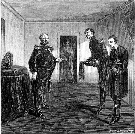 commander: At the commander of the fortress, vintage engraved illustration. Le Tour du Monde, Travel Journal, (1865).
