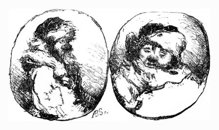 peasant: A carter and a peasant in Estonia, vintage engraved illustration. Le Tour du Monde, Travel Journal, (1865).