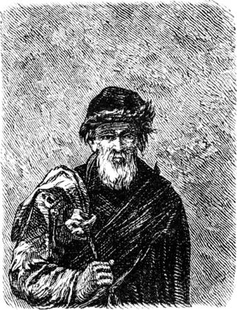 A Lithuanian Jew, vintage engraved illustration. Le Tour du Monde, Travel Journal, (1865). Stock Photo