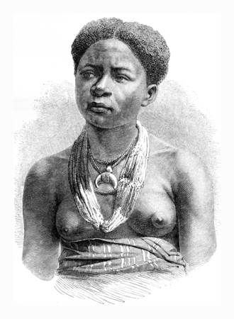 Akera, girl from Gabon, vintage engraved illustration. Le Tour du Monde, Travel Journal, (1865).