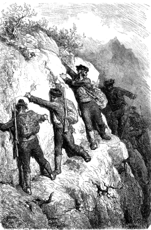 dangerous man: Smuggler of the Serrania de Ronda, vintage engraved illustration. Le Tour du Monde, Travel Journal, (1865).
