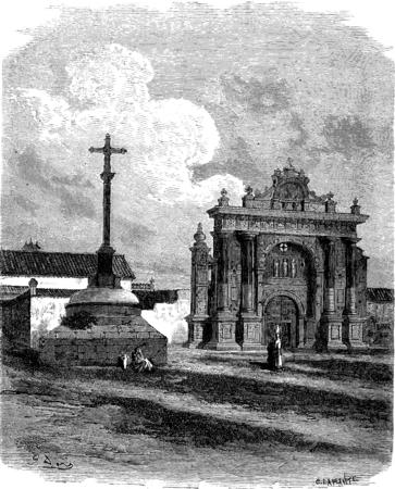The Charterhouse of Jerez, vintage engraved illustration. Le Tour du Monde, Travel Journal, (1865).