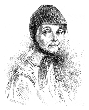recluse: Sister Mary recluse Solovetsky, vintage engraved illustration. Le Tour du Monde, Travel Journal, (1872).