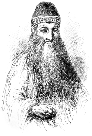 recluse: A recluse Solovetsky, vintage engraved illustration. Le Tour du Monde, Travel Journal, (1872).