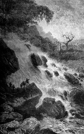 Vista del río cerca de su nacimiento Garote, cosecha ilustración grabada. Le Tour du Monde, Diario de viaje, (1872). Foto de archivo - 38208138